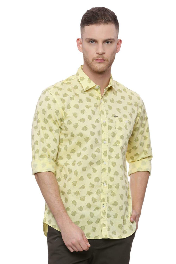 BASICS SLIM FIT MELLOW YELLOW PRINTED SHIRT-18BSH37280 (4491063623761)