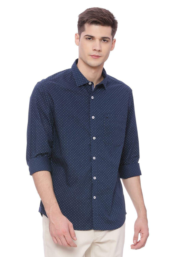 Basics Slim Fit Midnight Navy Printed Shirt Front