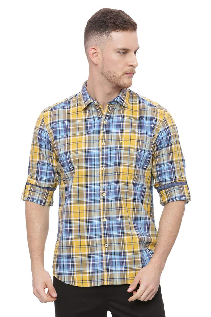 BASICS SLIM FIT MINERAL YELLOW CHECKS SHIRT-18BSH37746