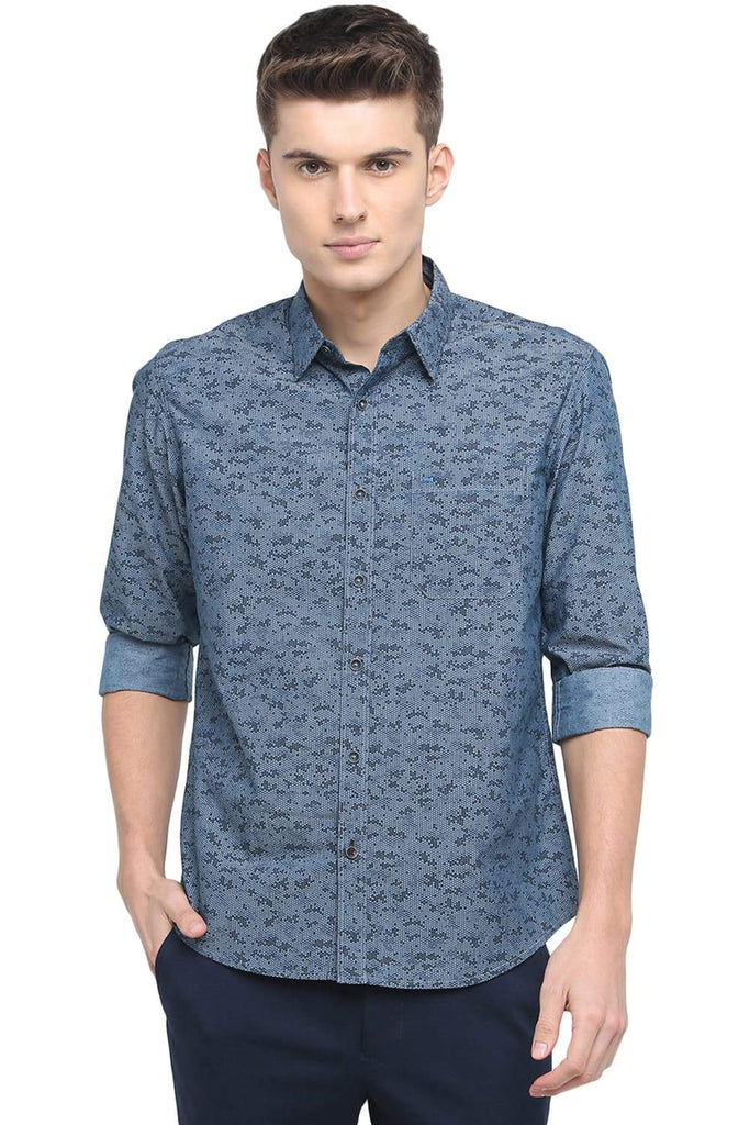 BASICS SLIM FIT MIRAGE NAVY PRINTED SHIRT-18BSH39221 (4491555274833)
