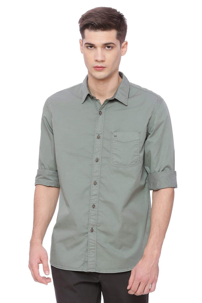 BASICS SLIM FIT MISTLETOE GREEN GARMENT-DYED SHIRT-18BSH37764 (4491094884433)