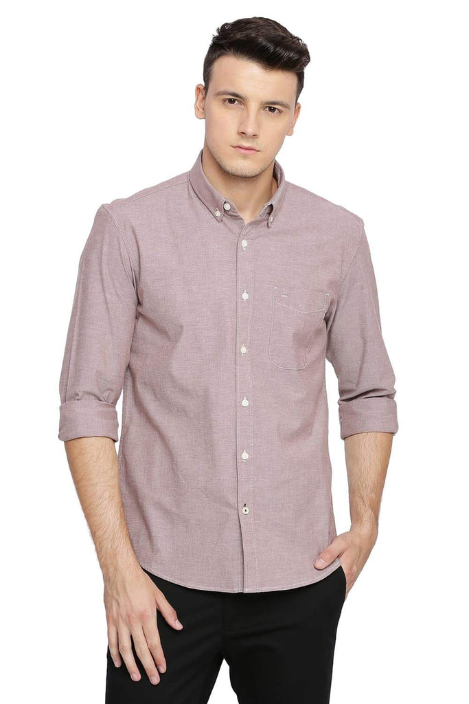 BASICS SLIM FIT MOCHA RED CHAMBRAY SHIRT-18BSH38659