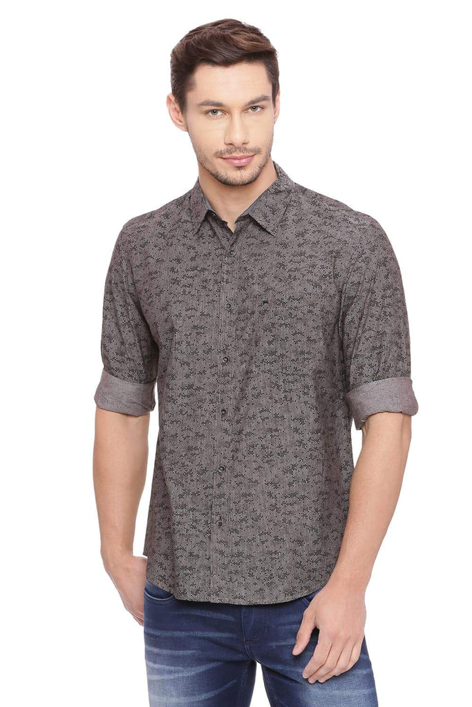 BASICS SLIM FIT MOLE BROWN PRINTED SHIRT-18BSH39220 (4491135647825)