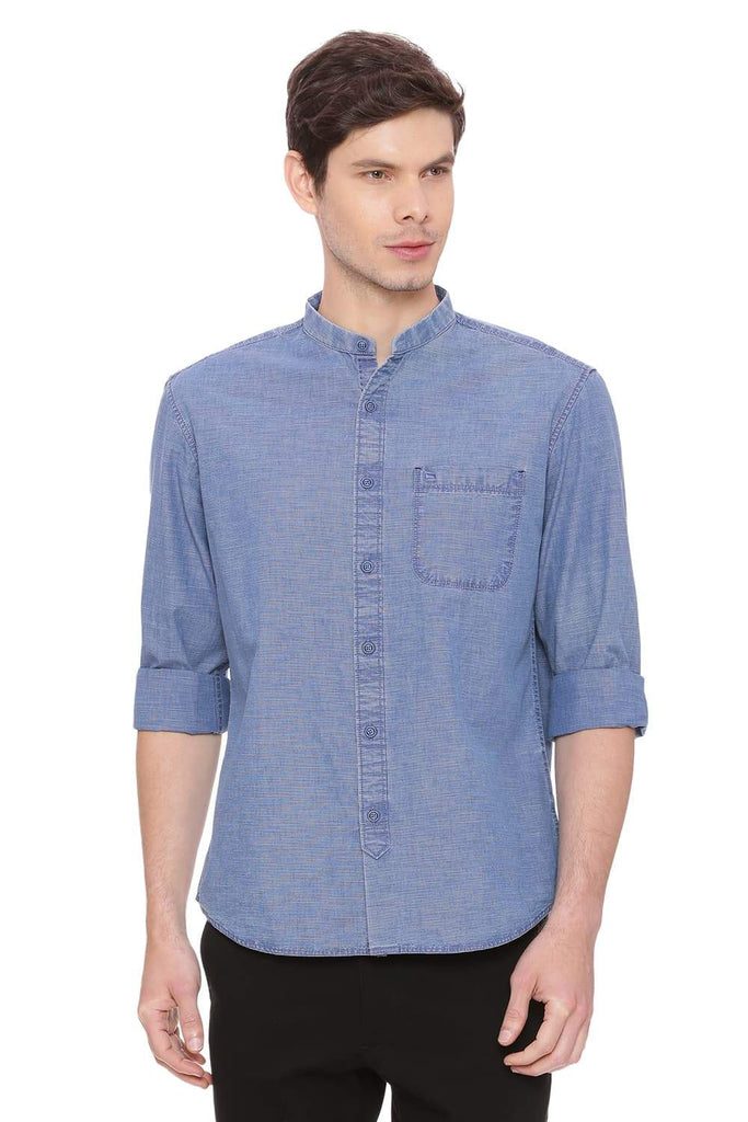 BASICS SLIM FIT MOOD INDIGO STRIPES SHIRT-18BSH39008 (4491508744273)