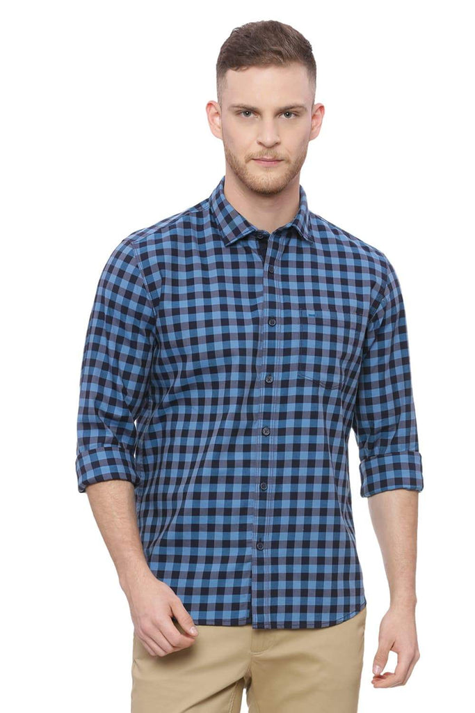 BASICS SLIM FIT MOONLIGHT BLUE CHECKS SHIRT-18BSH37589 (4490998022225)