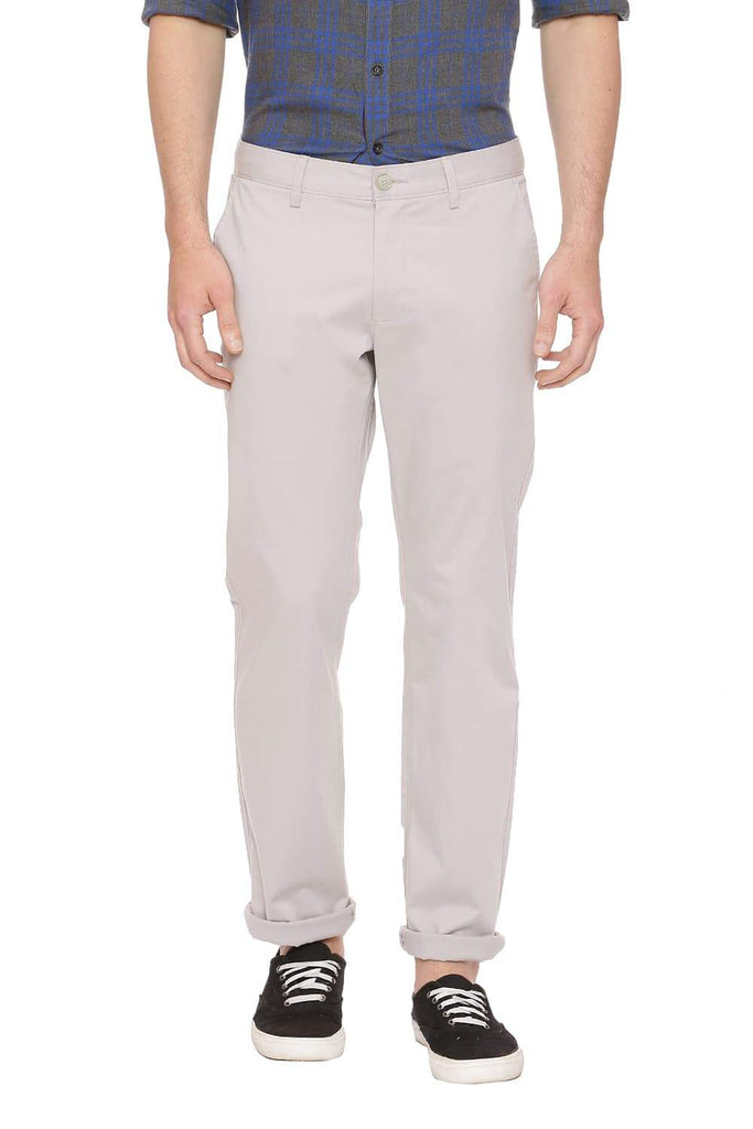 Basics Slim Fit Moonstruck Grey Stretch Trouser Front