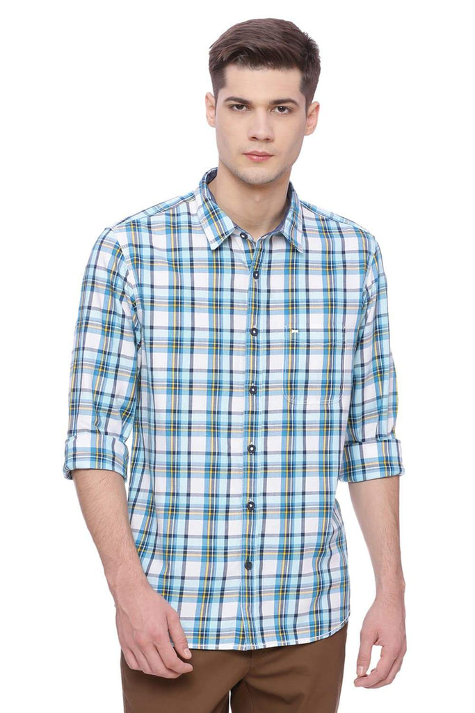 BASICS SLIM FIT MOSAIC BLUE CHECKS SHIRT-18BSH37236 (4491060576337)