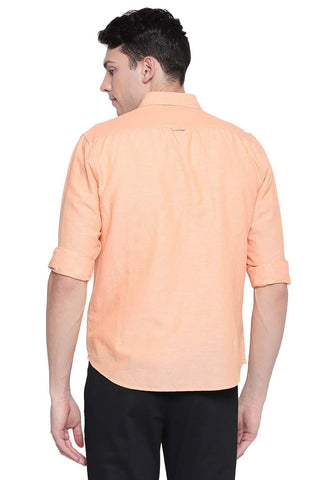 BASICS SLIM FIT MUSKMELON ORANGE COTTON LINEN SHIRT-20BSH43359 - BasicsLife