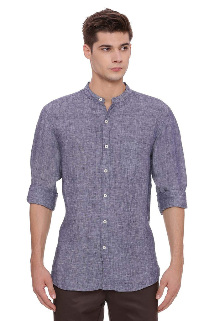 BASICS SLIM FIT NAVY LINEN SHIRT-18BCSH39313