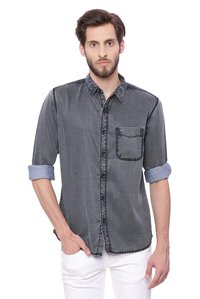 BASICS SLIM FIT NAVY NIGHT INDIGO SHIRT-18BSH39073