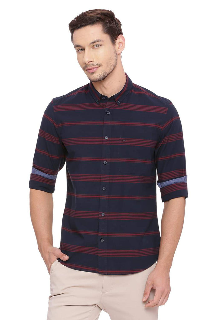 BASICS SLIM FIT NAVY NIGHTS WEFT STRIPES SHIRT-18BSH38799