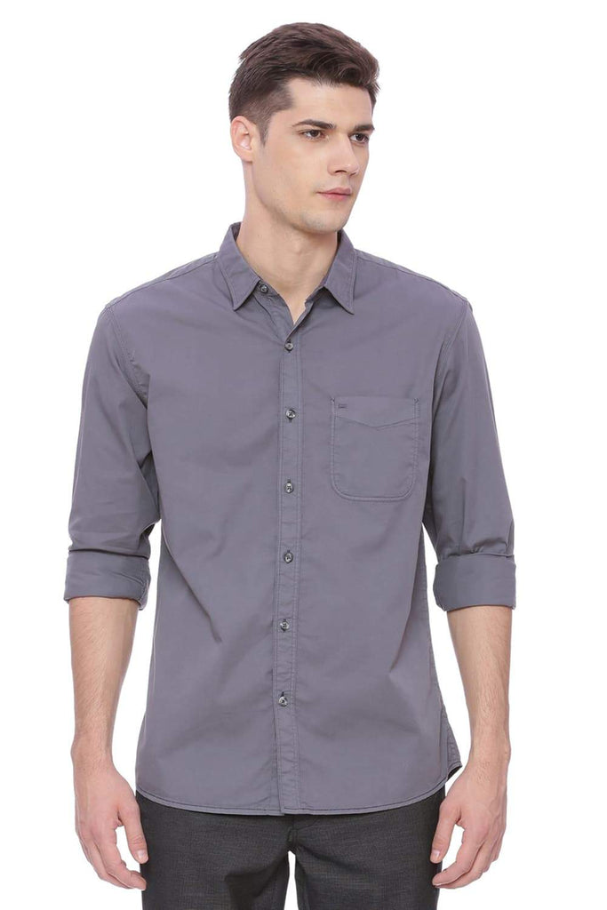 Basics Slim Fit Neutral Grey Garment-dyed Shirt Front