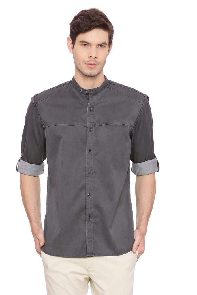BASICS SLIM FIT NEUTRAL GREY SULFUR DENIM SHIRT-18BSH39272 (4491186012241)