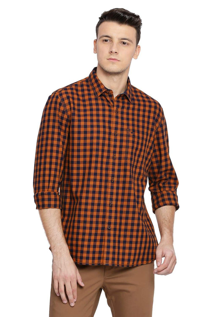 BASICS SLIM FIT OAK ORANGE CHECKS SHIRT-18BSH38582 - BasicsLife