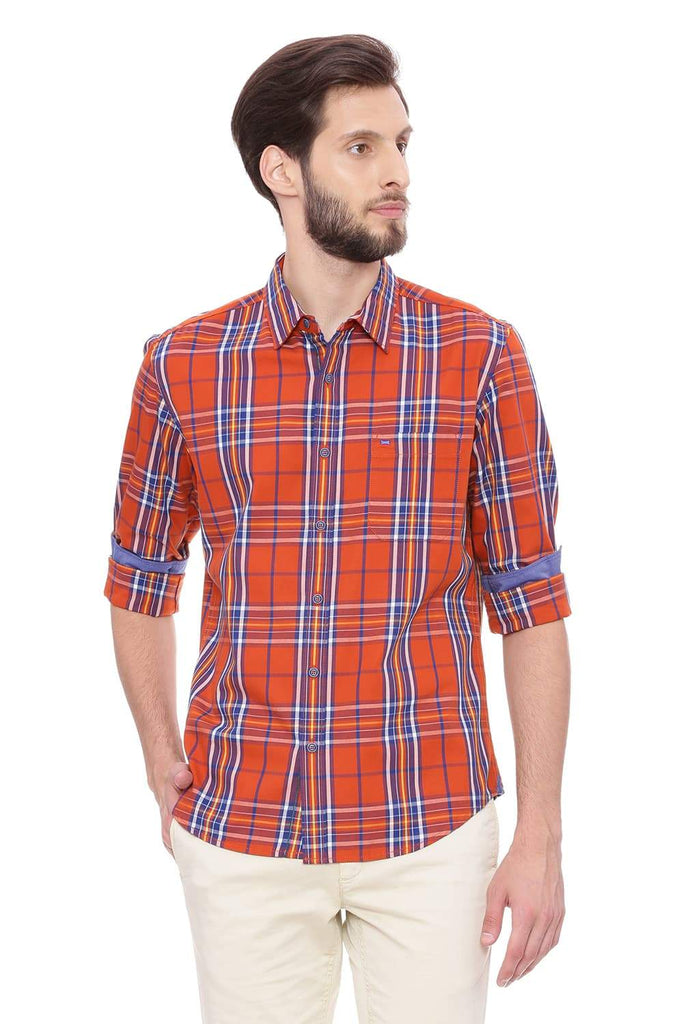 BASICS SLIM FIT OCHRE ORANGE CHECKS SHIRT-18BSH38906 - BasicsLife