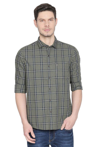 BASICS SLIM FIT OLIVE GREEN CHECKS SHIRT-19BSH41675 (4491615141969)