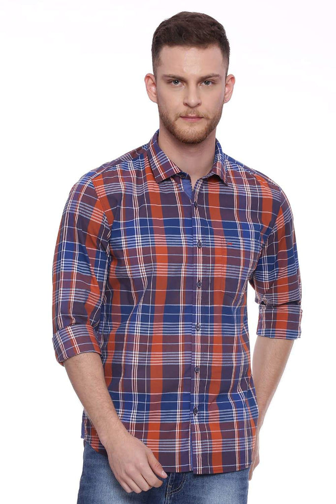 BASICS SLIM FIT ORANGE RUST CHECKS SHIRT-18BSH37758 (4491003232337)