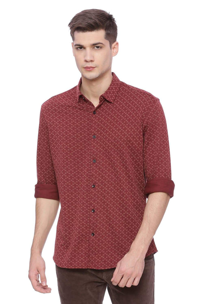 Basics Slim Fit Oxblood Red Knit Shirt Front