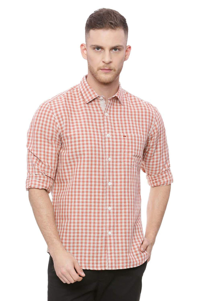 BASICS SLIM FIT PAPRIKA CHECKS SHIRT-18BSH37139 (4491046092881)