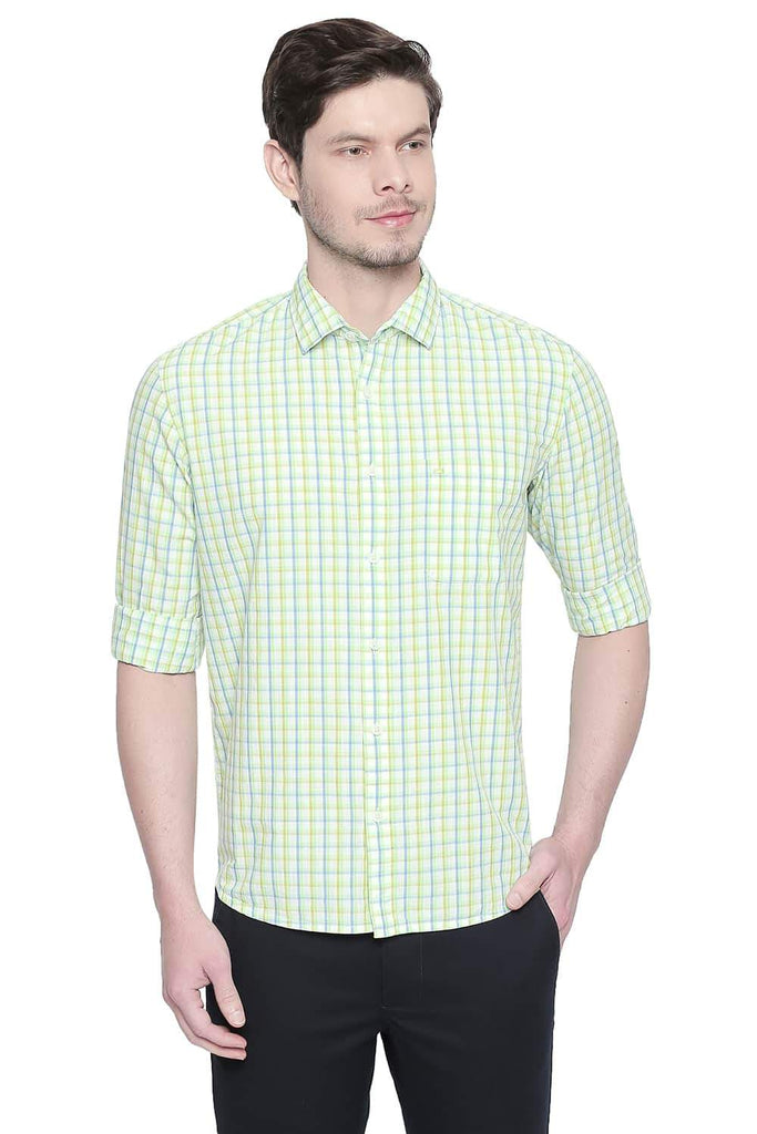 BASICS SLIM FIT PARADISE GREEN CHECKS SHIRT-20BSH43176 (4491869782097)