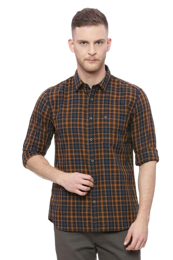 Basics Slim Fit Parch Khaki Checks Shirt Front