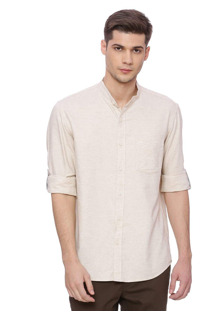 BASICS SLIM FIT PARCHMENT BEIGE TWILL CHAMBRAY SHIRT-18BSH37203 (4491122573393)