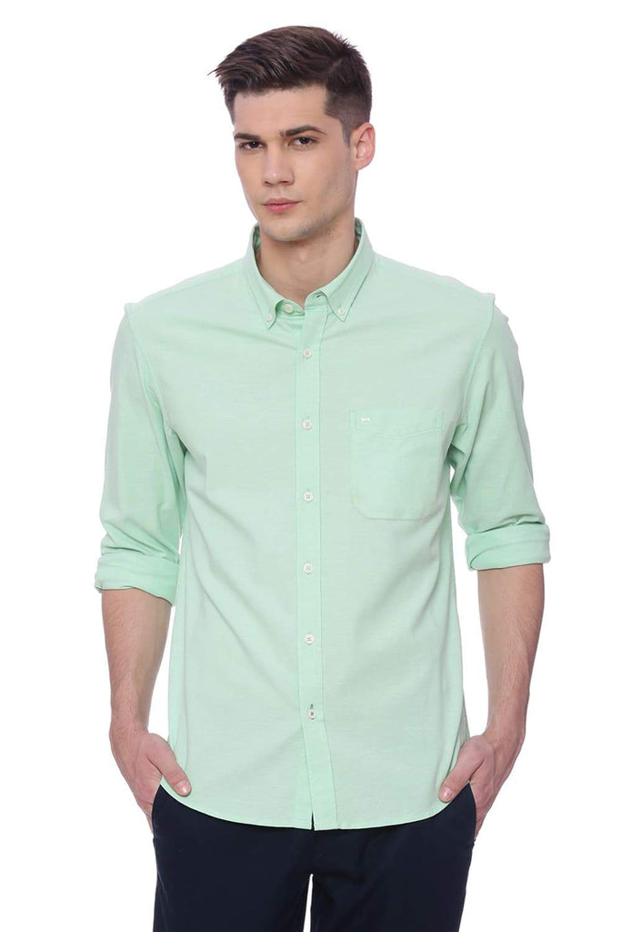 BASICS SLIM FIT PATINA GREEN STRETCH SHIRT-18BSH37192 (4491049009233)