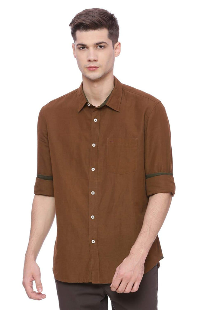 BASICS SLIM FIT PATRIDGE BROWN COTTON LINEN SHIRT-18BSH37158 (4491092951121)