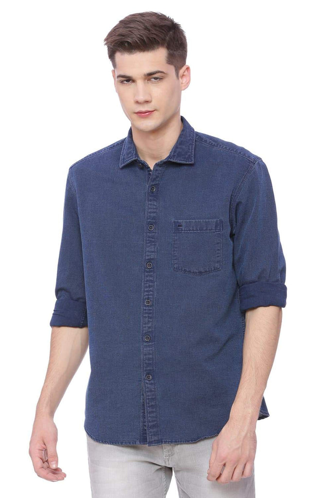 BASICS SLIM FIT PATRIOT BLUE INDIGO SHIRT-18BSH37117 (4491044618321)