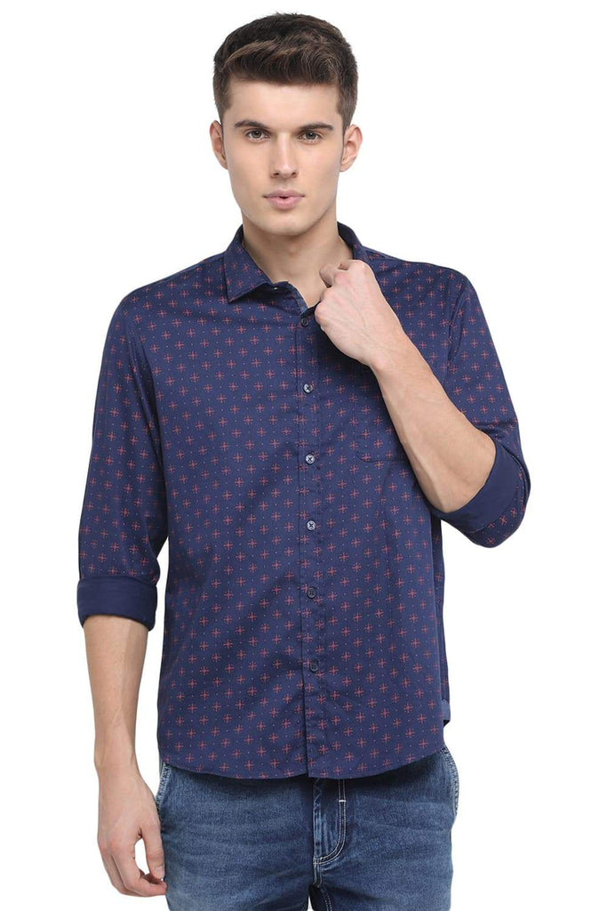 BASICS SLIM FIT PATRIOT NAVY PRINTED SHIRT-18BSH39139 - BasicsLife