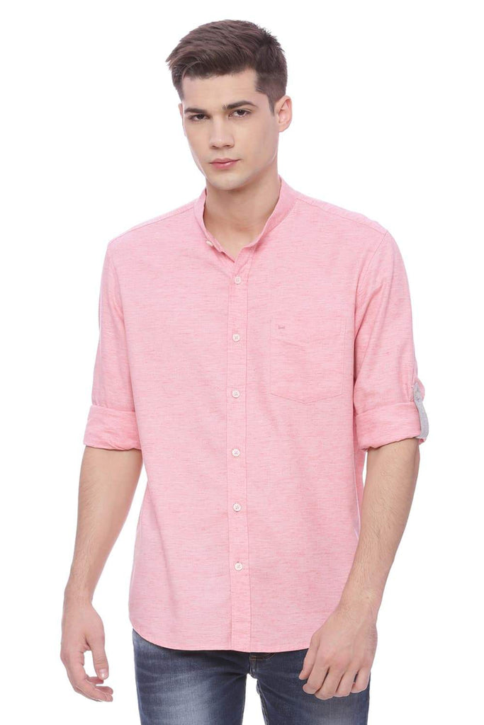 BASICS SLIM FIT PEACH BUD TWILL CHAMBRAY SHIRT-18BSH37205 (4491122638929)