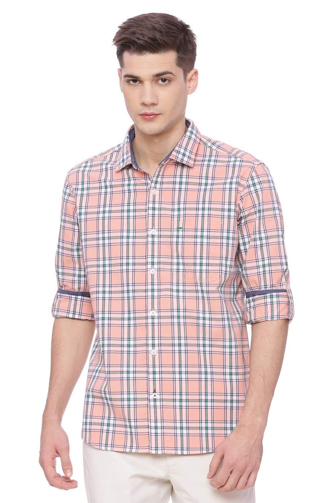 BASICS SLIM FIT PEACH ORANGE CHECKS SHIRT-18BSH37437 (4490991698001)