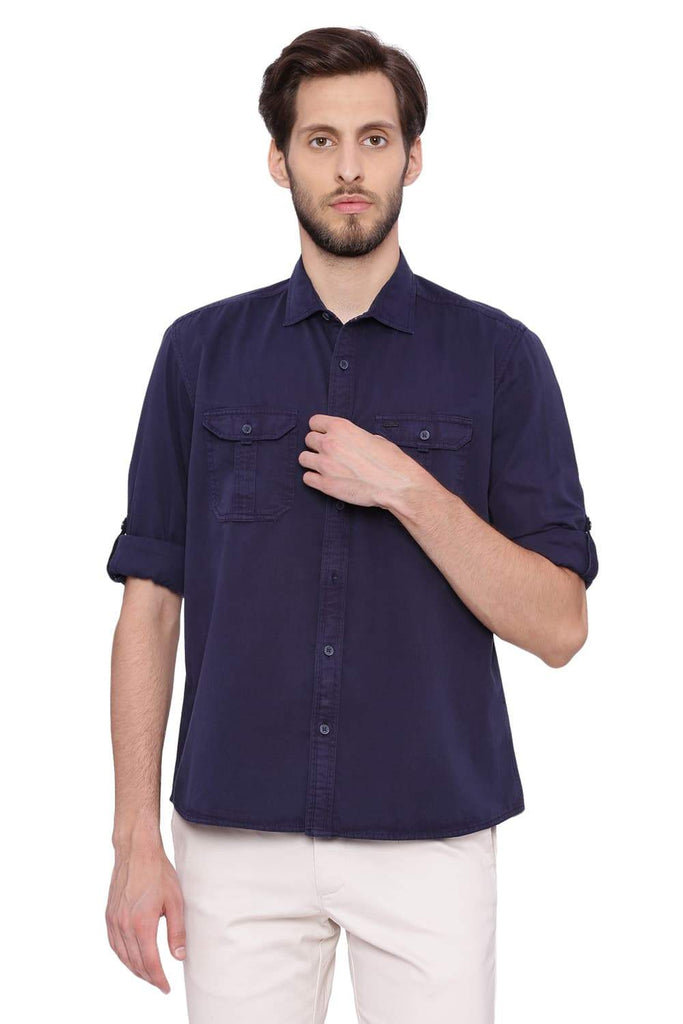 BASICS SLIM FIT PEACOAT NAVY GARMENT DYED TWILL SHIRT-18BSH39132 (4491515723857)