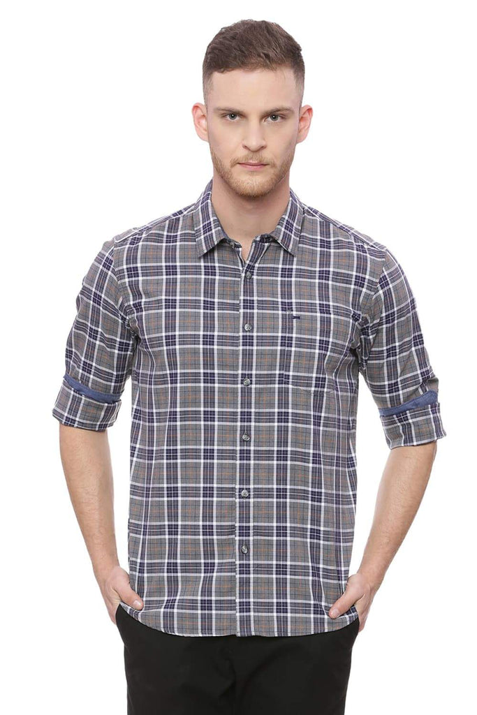 BASICS SLIM FIT PEACOAT NAVY MELANGE CHECKS SHIRT-18BSH37375 (4491066638417)