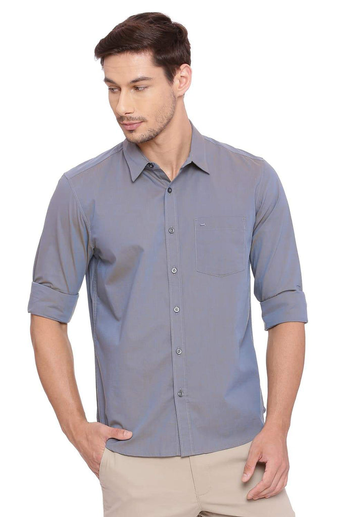 BASICS SLIM FIT PEARL GREY CHAMBRAY SHIRT-18BSH39004 (4491503566929)