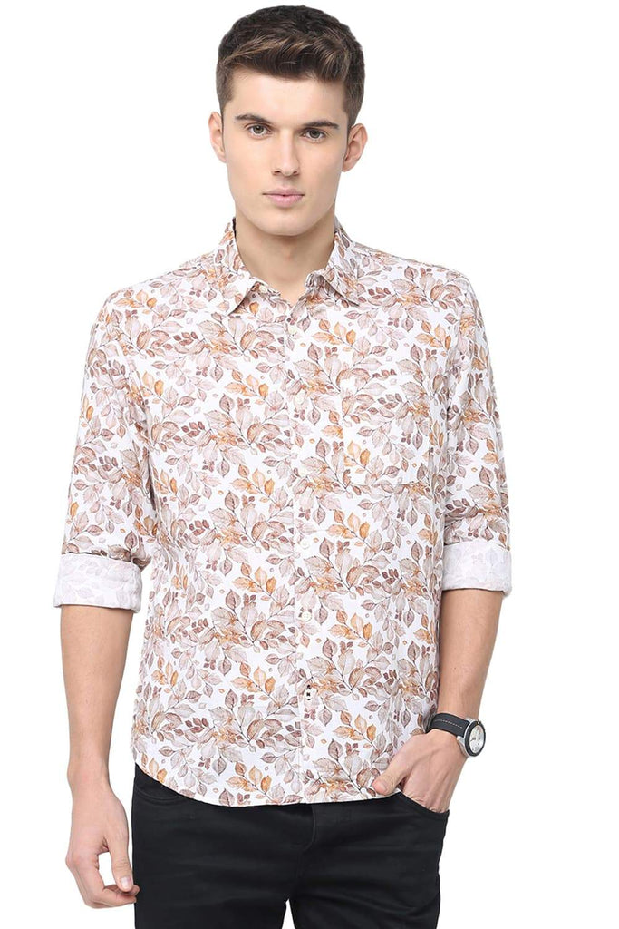 BASICS SLIM FIT PEBBLE BEIGE DIGITAL PRINTED SHIRT-18BSH39726 (4491556225105)