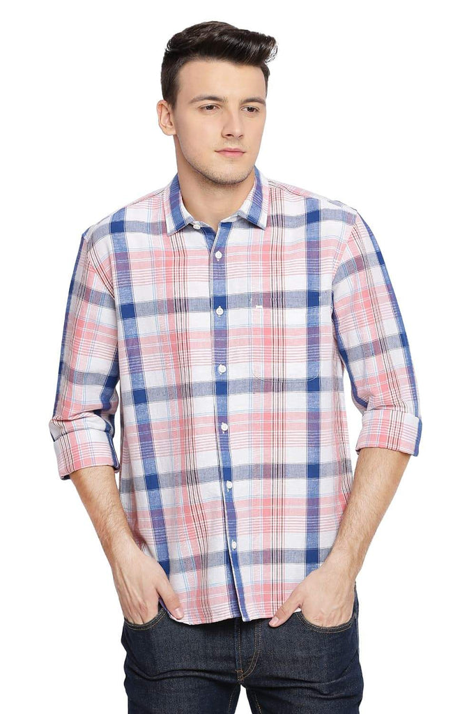BASICS SLIM FIT PEONY PINK CHECKS SHIRT-18BSH38561 (4491543347281)