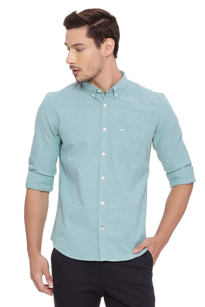 BASICS SLIM FIT PEPPER GREEN CHAMBRAY SHIRT-18BSH38660 (4491280580689)