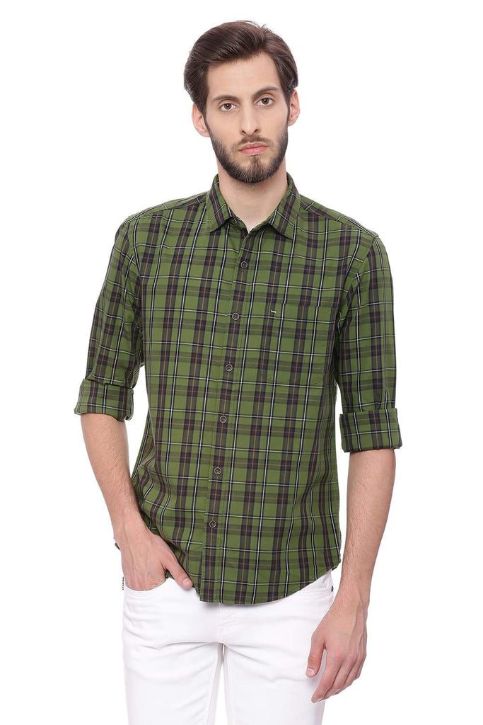 BASICS SLIM FIT PESTO GREEN TWILL CHECKS SHIRT-18BSH38718 (4491329306705)