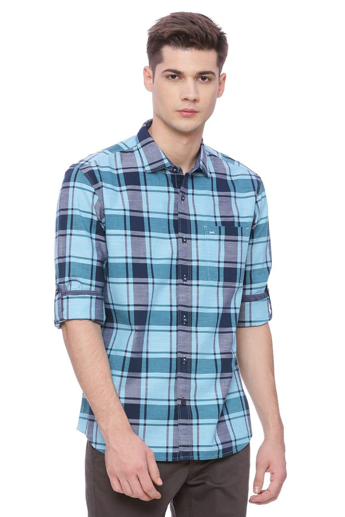 Basics Slim Fit Petit Four Blue Checks Shirt Front