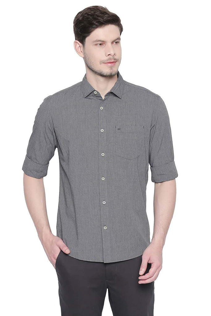 BASICS SLIM FIT PHANTOM BLACK FIL A FIL SHIRT-20BSH42995 (4491865325649)