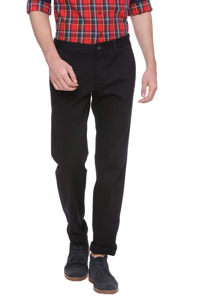 BASICS SLIM FIT PHANTOM BLACK STRETCH TROUSER-18BTR37458 (4491098619985)