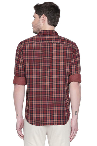 BASICS SLIM FIT PICANTE RED REVERSIBLE SHIRT-19BSH41714 (4491822465105)