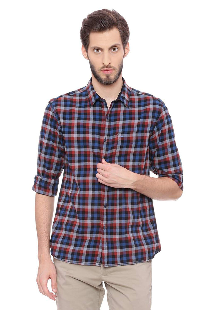 BASICS SLIM FIT PICANTE RED TWILL CHECKS SHIRT-18BSH38679