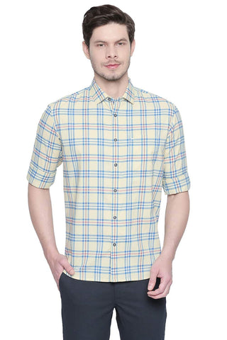 BASICS SLIM FIT PINEAPPLE YELLOW OXFORD CHECKS SHIRT-20BSH42934 (4491863752785)