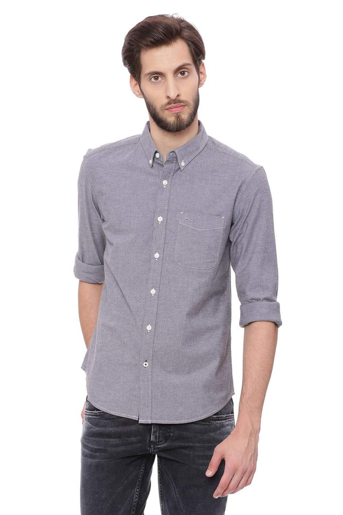 BASICS SLIM FIT PIRATE BLACK CHAMBRAY SHIRT-18BSH38661 - BasicsLife
