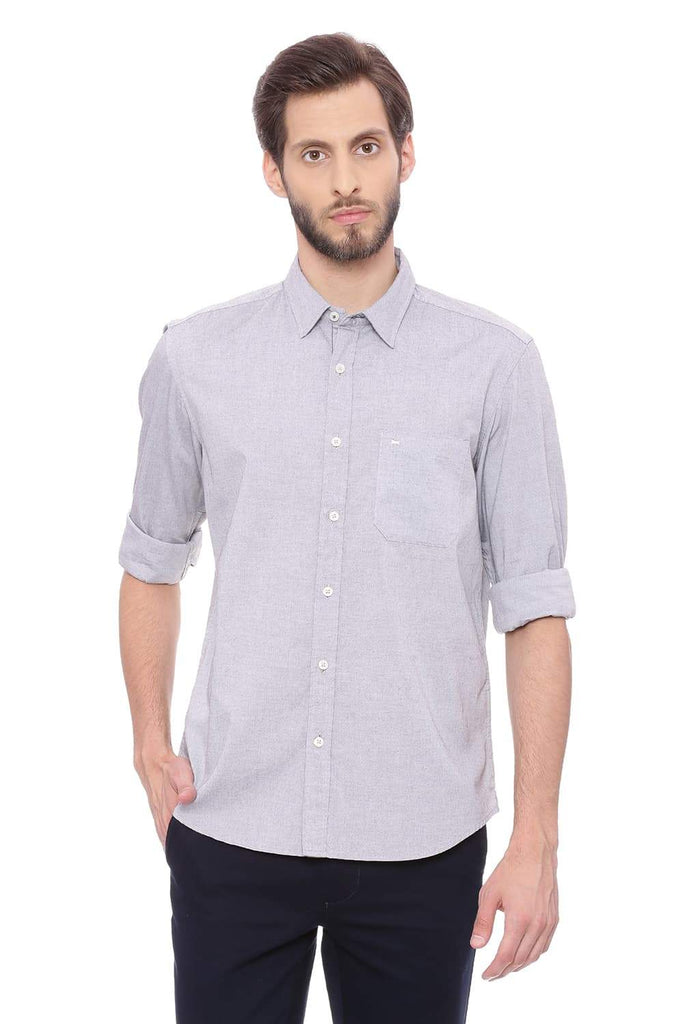 BASICS SLIM FIT PIRATE BLACK OXFORD SHIRT-18BSH38941 (4491490787409)