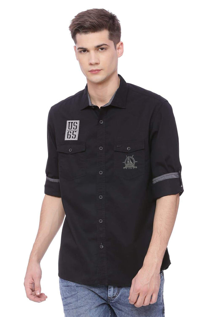 Basics Slim Fit Pirate Black Twill Shirt Front
