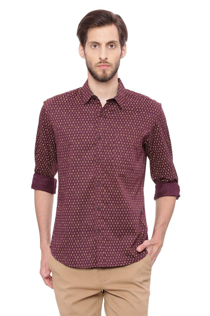 BASICS SLIM FIT PLUM MAROON PRINTED SHIRT-18BSH39252 (4491150884945)