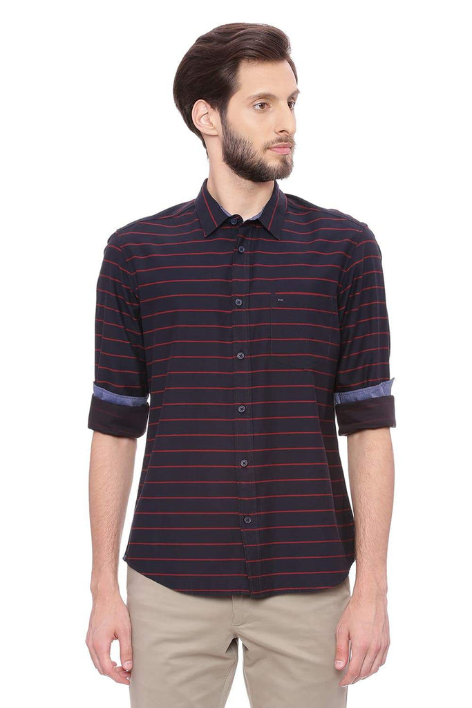 BASICS SLIM FIT POPPY RED WEFT STRIPES SHIRT-18BSH38727